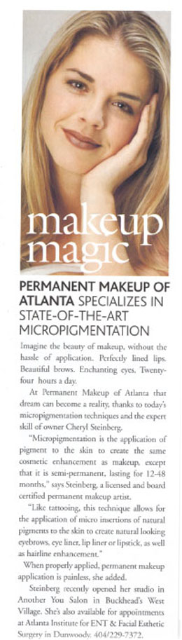 Permanenet Makeup of Atlanta Licensed Cosmetic Tattoo Artist for loss of eyebrows and eyelashes